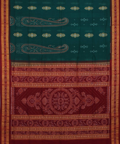 Teal Green Handloom Bomkai Cotton Saree