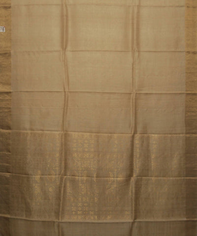 Handwoven Cream Golden Tussar Silk Saree