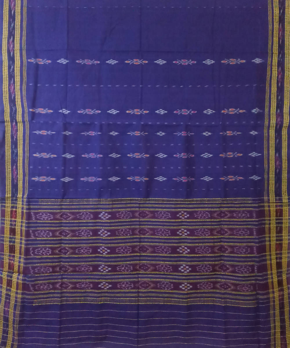 Purple Handwoven Sambalpuri Cotton Ikat Saree
