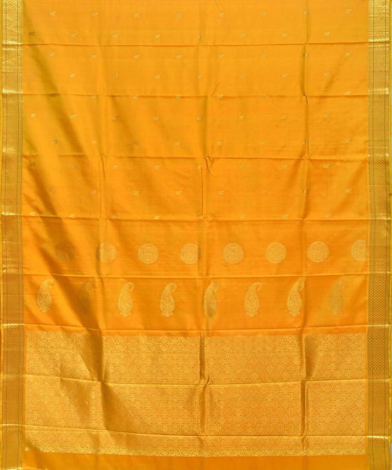 Golden Yellow Handloom Kanchipuram Silk Saree