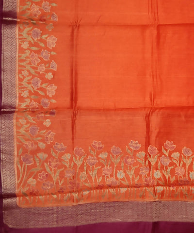 Fire Orange Handloom Banarasi Silk Saree