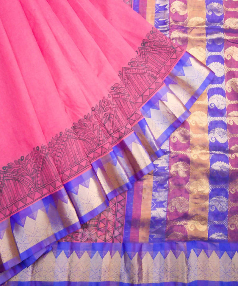 Pink Madhubani Painted Gadwal Cotton Saree