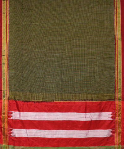 Black Yellow Checks Handloom Ilkal Saree