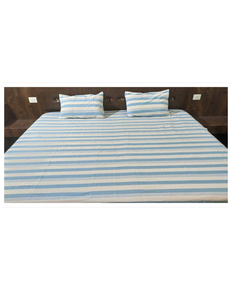 Blue stripes handloom king size cotton bedsheet