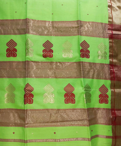 Maheshwari Parrot Green Handloom Cotton Silk Saree