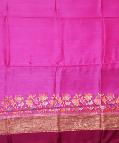 Fuschia pink and wine handwoven silk banarasi saree