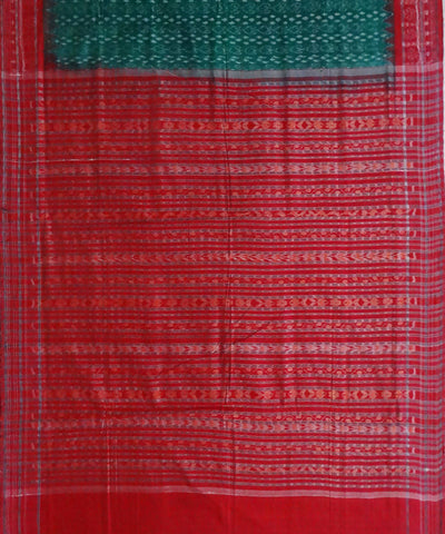 Bottle Green Sambalpuri Cotton Handloom Saree