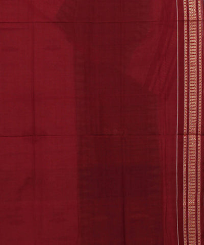 Bomkai Handwoven Beige Maroon Cotton Saree