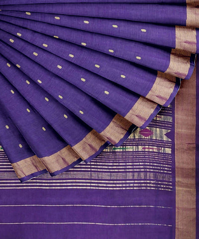 Blue Purple Handloom Paithani Cotton Saree