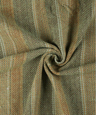 Khaki green handwoven cotton striped upholstery fabric