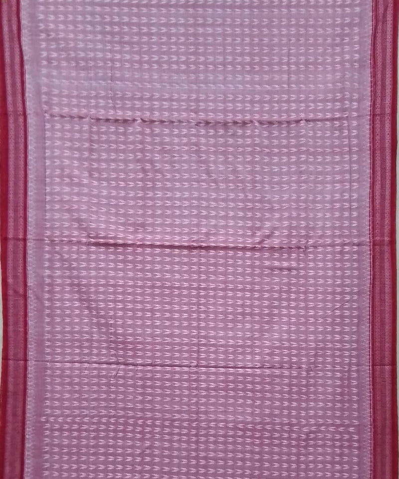 Light pink red handwoven cotton sambalpuri saree