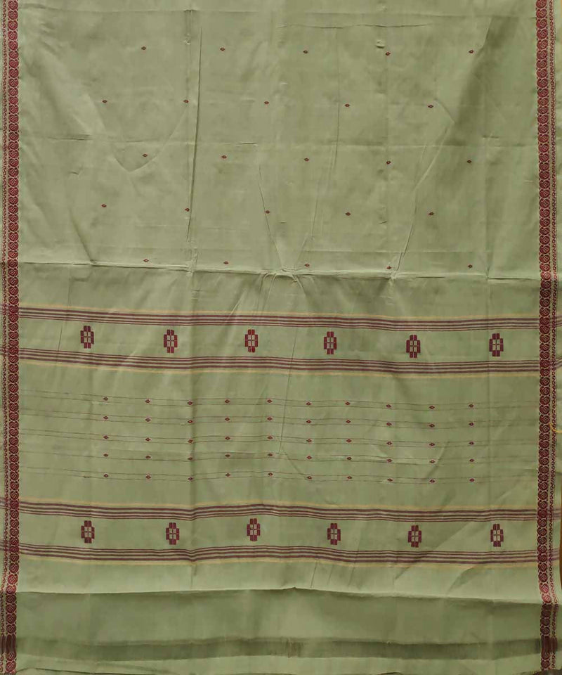 Artichoke green handloom cotton venkatagiri saree