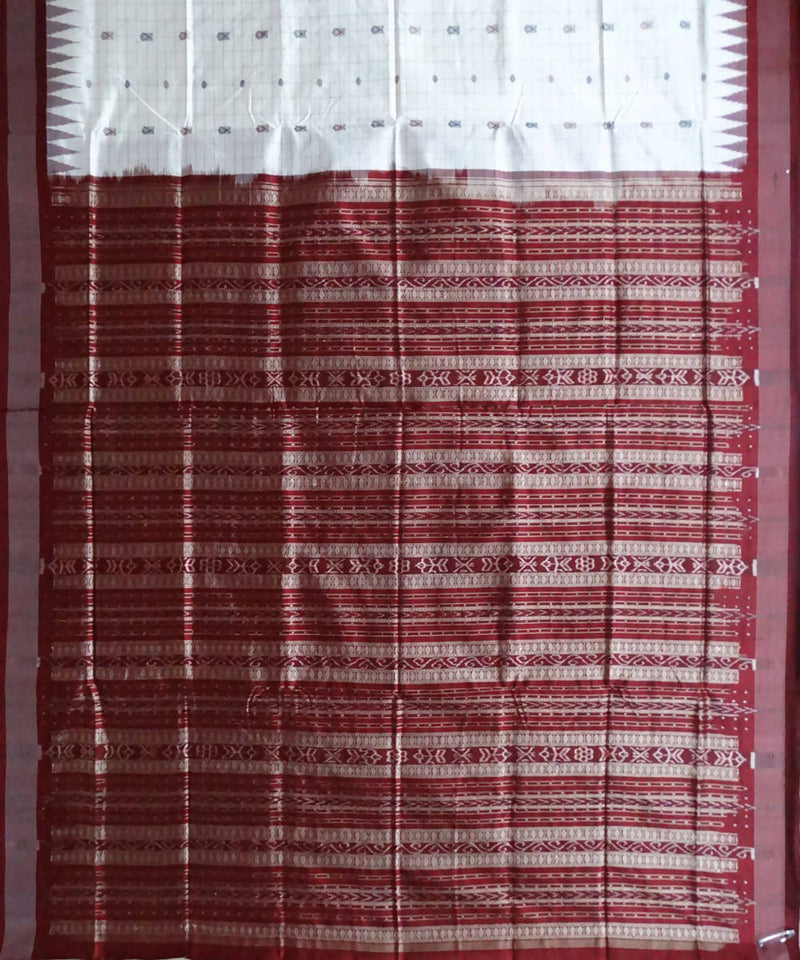 White hazar butti Sonepuri silk Handwoven Saree