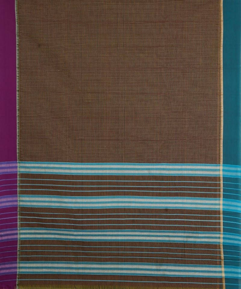Handloom Dark Brown Narayanpet Cotton Saree