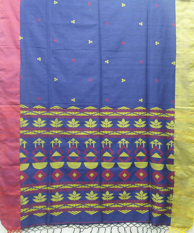 Bengal Navy Blue Handloom Cotton Saree