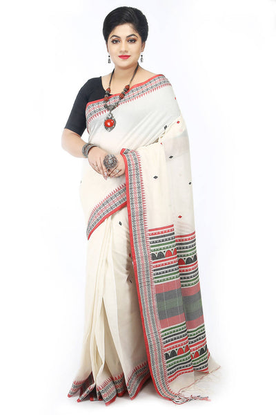 Handloom bengal white cotton saree