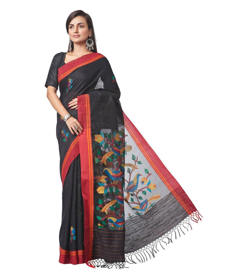 Biswa bangla handwoven black matka silk jamdani saree