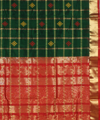 Dark Green Checks Karnataka Handloom Saree