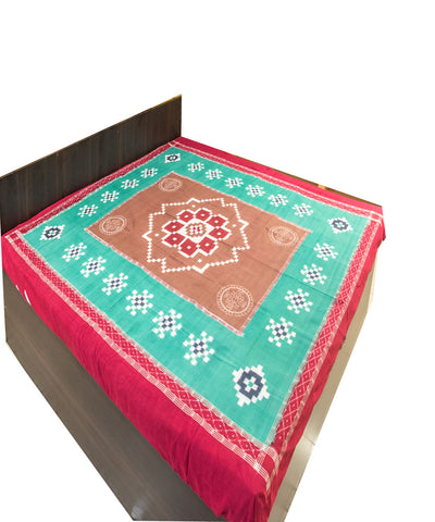 Cyan and Maroon Ikat Tie And Dye Double Bed Cover