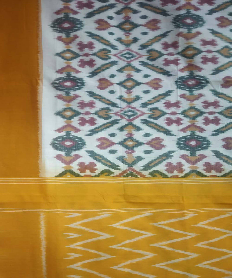 White yellow handwoven cotton ikat pochampally saree
