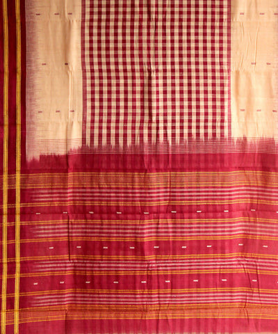 cream maroon natural dye muslin khadi cotton saree