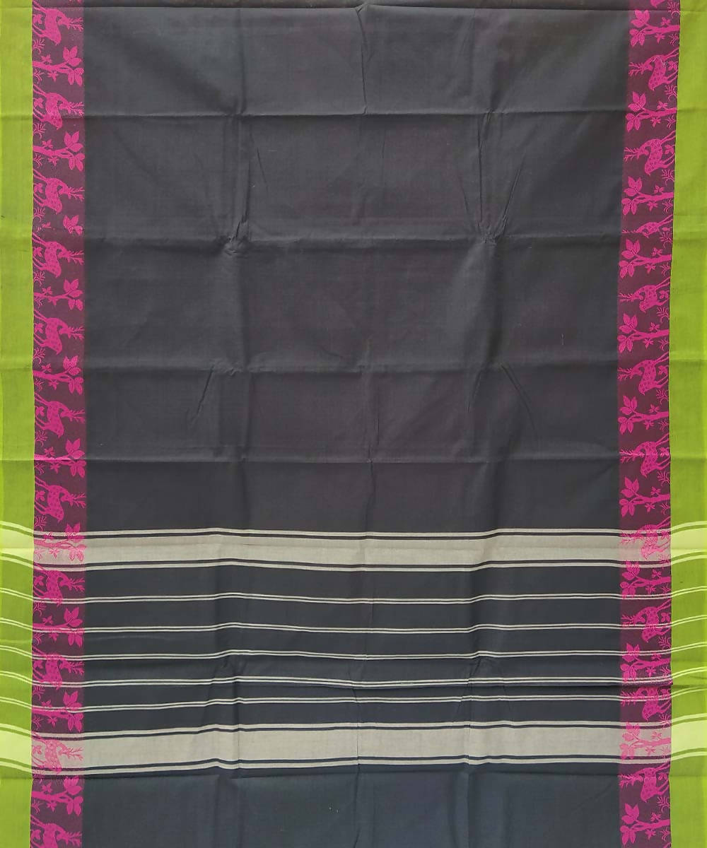 Black handwoven tamil nadu cotton saree
