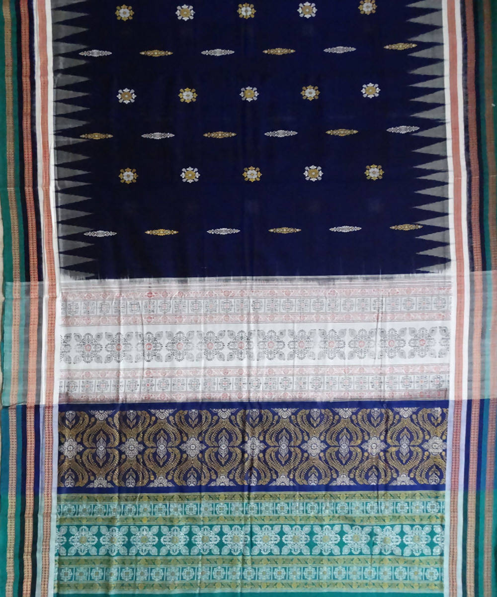 Duke Blue Bomkai Handloom Cotton Saree