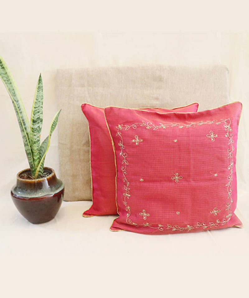 Handmade solid pink kota festive cushion cover