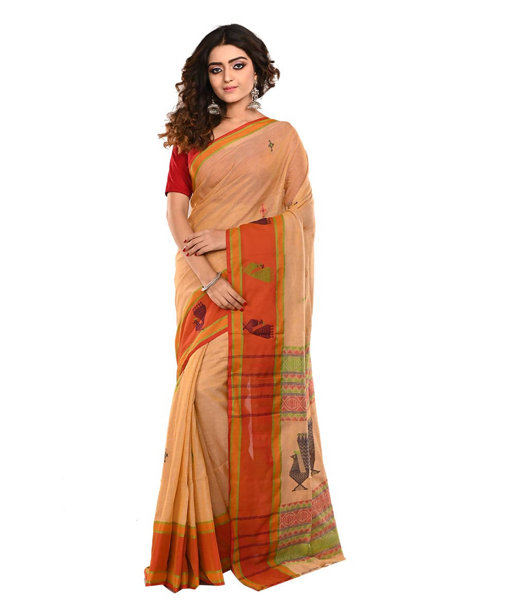 Bengal Brown Handloom Cotton Saree