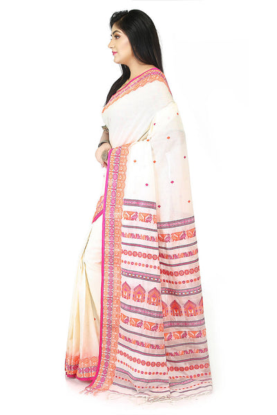 Handloom bengal white and red cotton saree
