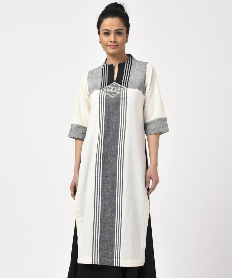White with Black Cotton Handwoven Kurta