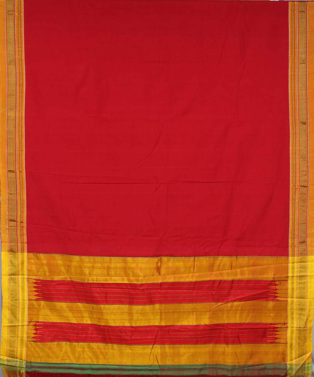 Scarlet red handwoven ochre chikki paras border cotton ilkal saree