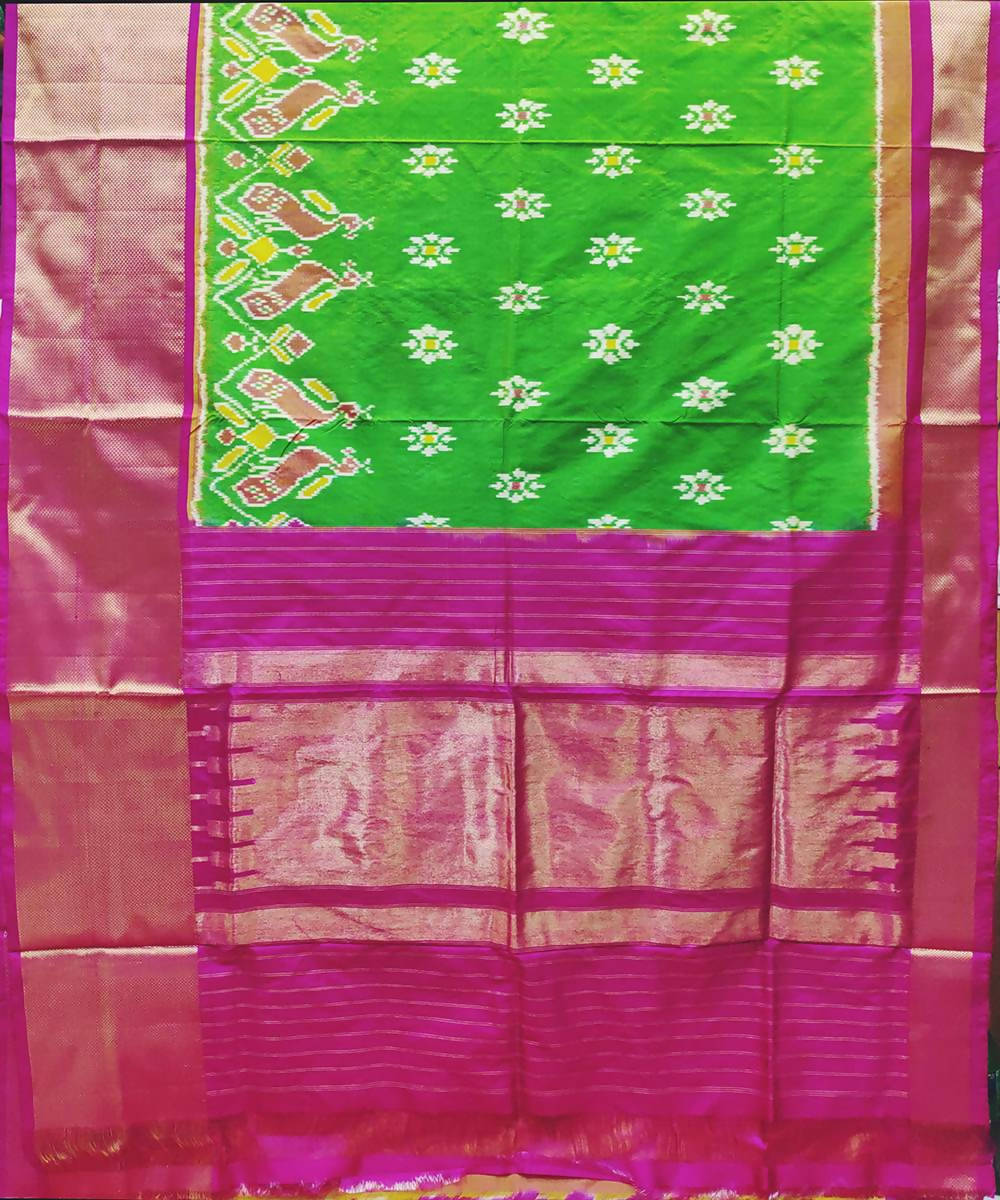 Green and pink handwoven ikat silk pochampally saree