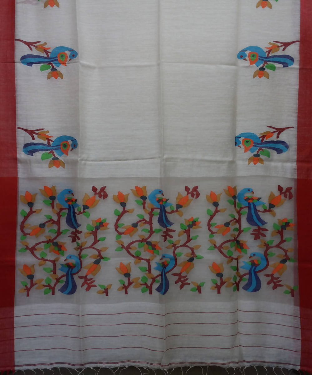 Off White Matka Silk Handloom Jamdani Bengal Saree