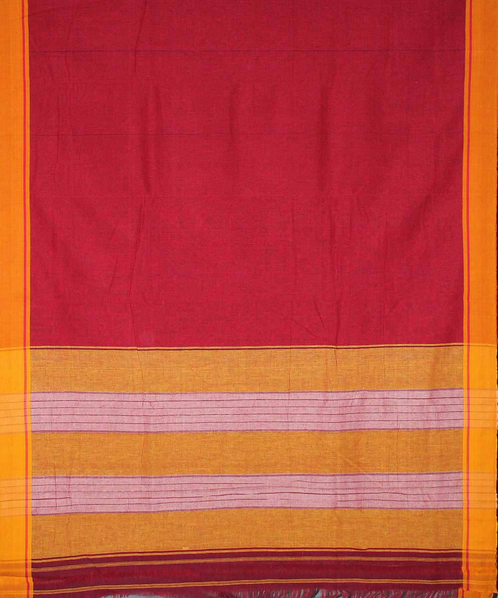 Red checks patteda anchu cotton handloom saree