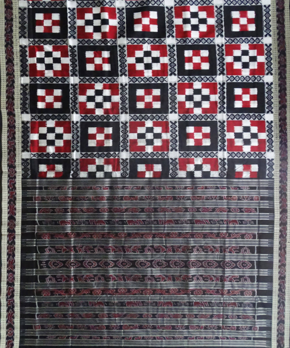 Red Black Pasapalli Ikat Silk Handloom Saree