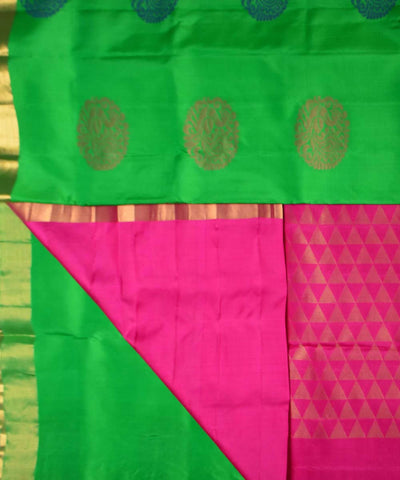 Green Pink Handloom Soft Silk Saree