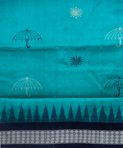 Caribbean Green Silk Bomkai Handloom Saree
