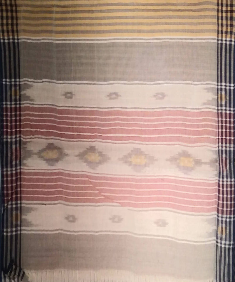 Brown stripes siddipet tie and dye handwoven cotton saree