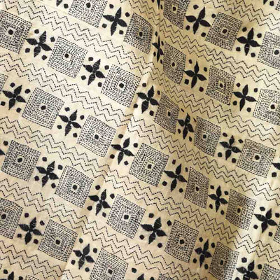 Beige and black kantha stitch hand embroidery handloom silk dupatta