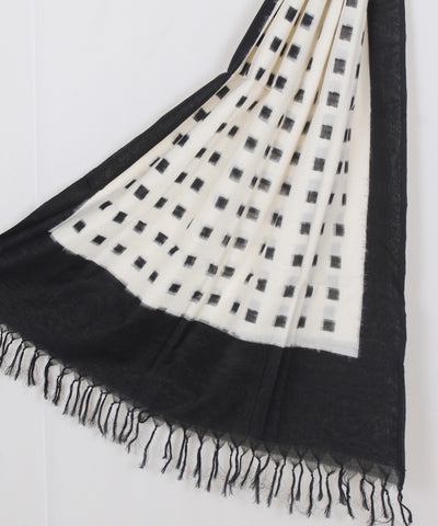 White Handwoven Ikat Cotton Dupatta