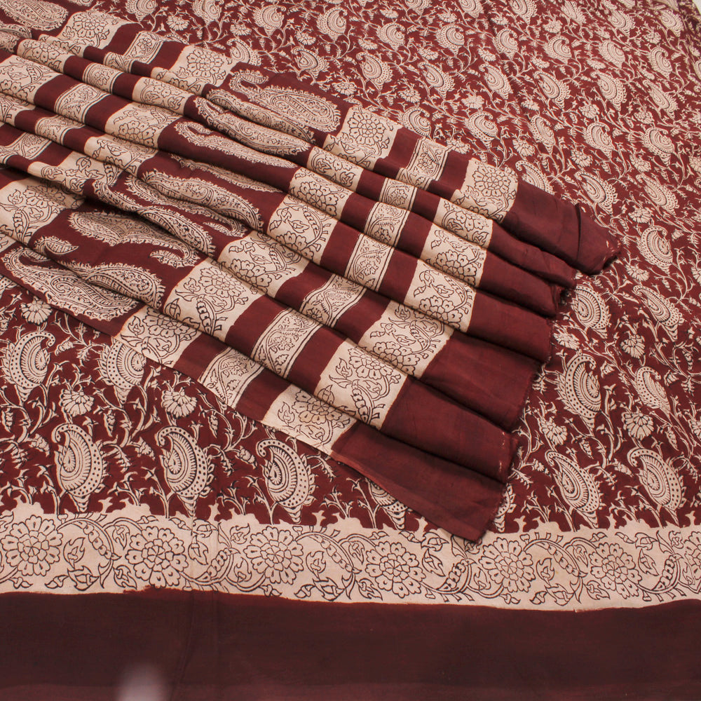 Handprinted Brown Kalamkari Art Silk Saree