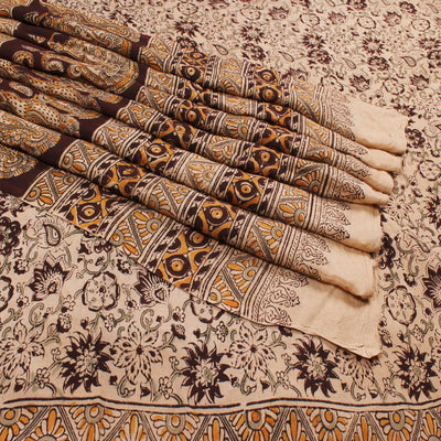 Handprinted Kalamkari Art Silk Saree