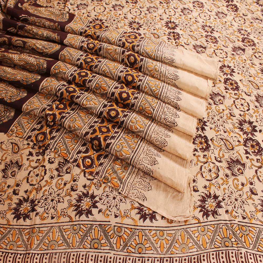 Kalamkari Handprinted Art Silk Saree