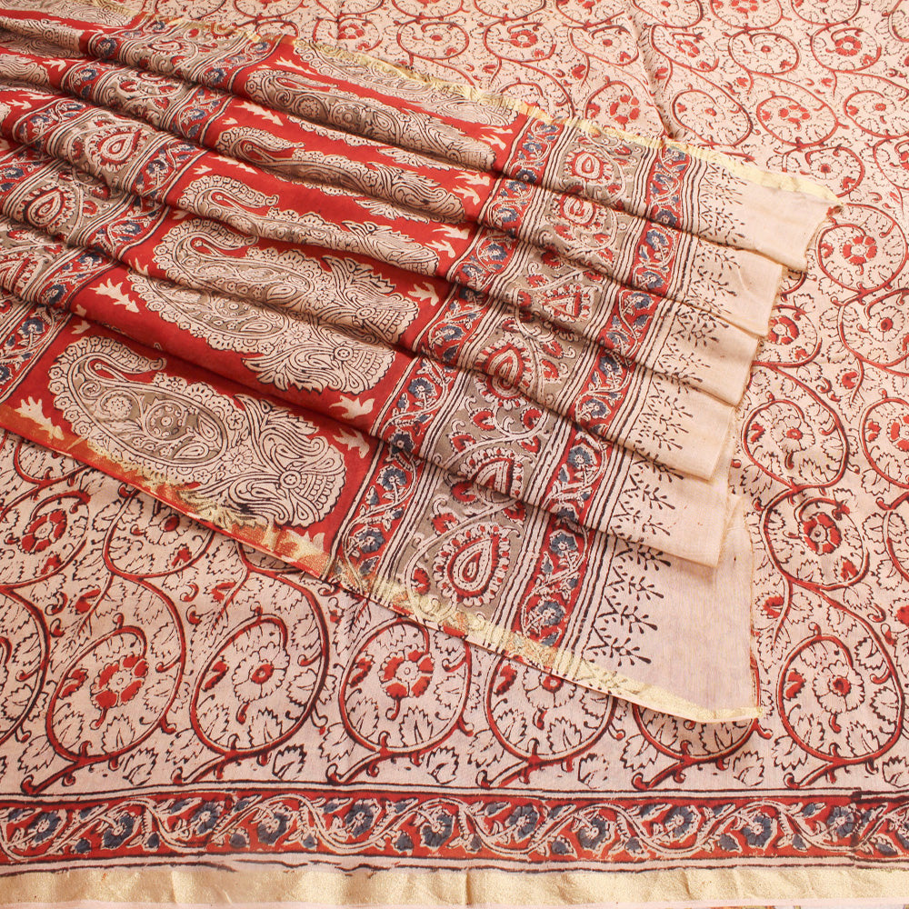Red Chanderi Block Printed Kalamkari Saree