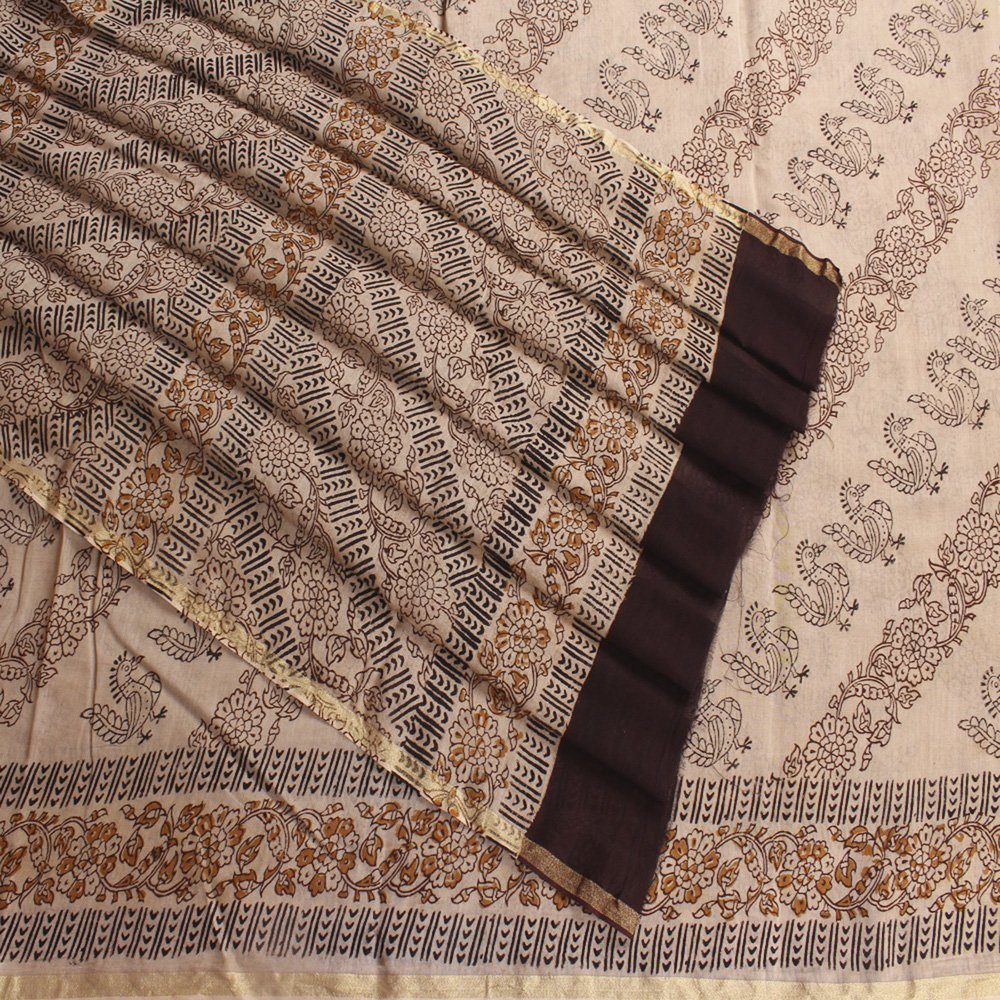 Floral Chanderi Block Printed Kalamkari Saree