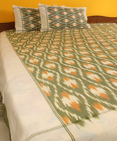 Green and White Handwoven Double Cot Cotton Bed Sheet