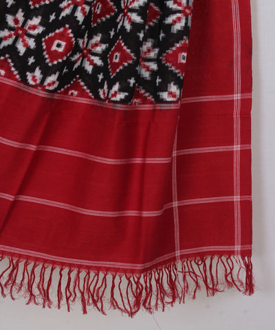 Red Telia Rumal Handwoven Ikat Cotton Dupatta
