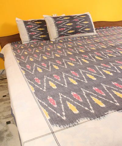 Black Handwoven Double Cot Cotton Bed Sheet