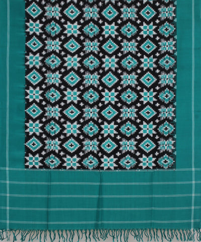 Turquoised Green Handloom Ikat Cotton Dupatta